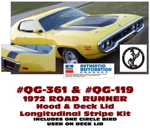 HOOD /& DECK LONGITUDINAL STRIPE w// BIRD DECAL QG-361 QG-119 1972 ROAD RUNNER