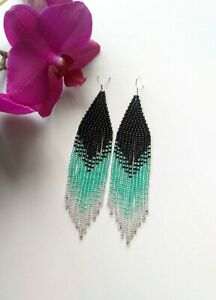 Fringe Beaded Earrings Black Green Seed Bead earrings Silver earrings handmade