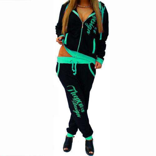 Autumn Women Casual 2Pcs Tracksuit Hoodies Trousers Printed Sports Jogging Suit