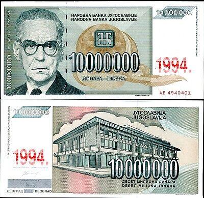 YUGOSLAVIA 500,000 500000 DINAR UNC 5 PCS CONSECUTIVE LOT 1994 P 143