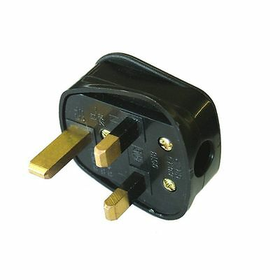 NEW MAINS UK 3 PIN FUSED PLUG 5Amp In BLACK Heavy Duty
