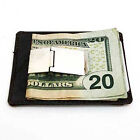 Black Men Genuine Cowhide Leather MONEY CLIP Wallet ID Badge Thin Front Pocket