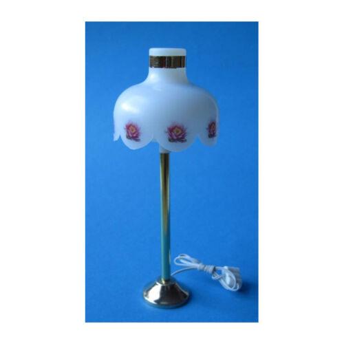 Kahlert 10237 Stehlampe, Schirm mit Blumenmuster, 3,5V 1:12 für Puppenhaus NEU!#