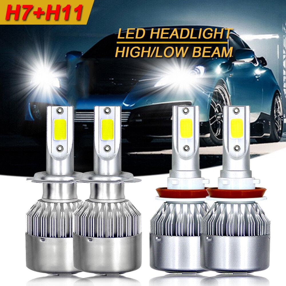 4 Bulb Kit 3000W 450000LM 9005 9006 6000K Combo CREE LED Headlight High Low Beam