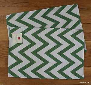 Chevron Woven Placemats Kitchen Dining Table Set of 2 Tapestry Green Stripes
