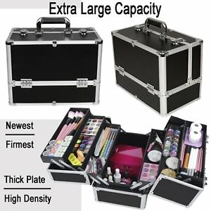 extra large beauty make up nail tech cosmetics storage box vanity train case 606993488452 ebay. Black Bedroom Furniture Sets. Home Design Ideas