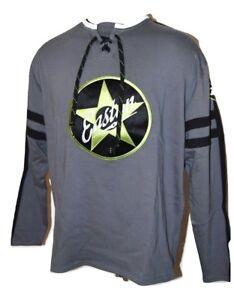 1d4644590 A imagem está carregando Easton-Retro-com-cadarco-Hockey -Jersey-Sueter-Cinza-
