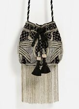 Zara Beaded Bucket Bag Evening Fringed Black & Silver New With Tags Sold Out!!