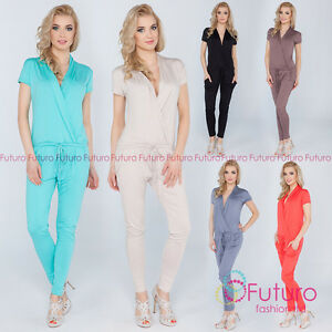 a7f7cd494ae5 Womens Jumpsuit With Pockets V Neck Wrap Playsuit Catsuit Sizes 8 ...