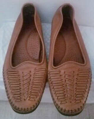 Narrow Brown Woven Slip On Loafer Shoes