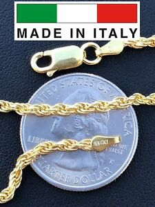 Rope-Chain-14K-Gold-Over-Solid-925-Silver-MADE-IN-ITALY-Men-039-s-Women-039-s-2-5mm