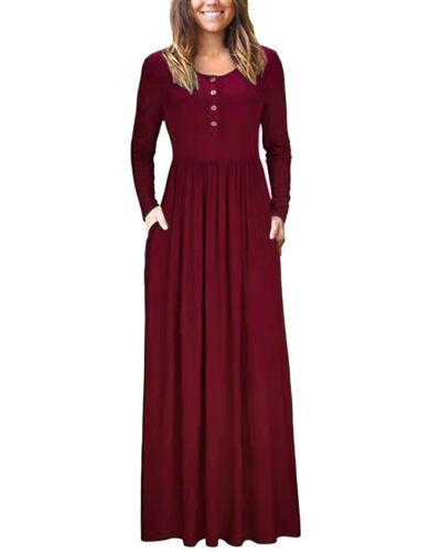 Women Plain Long Maxi Dress Long Sleeve Dress Ladies Loose Evening Party Dress