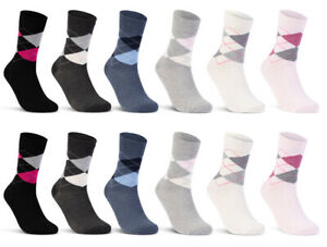 6-oder-12-Paar-Damensocken-Baumwolle-Karo-Damen-Socken-Kariert