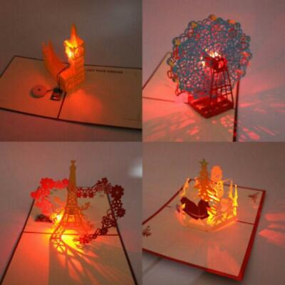 MUSIC LIGHT 3D POP UP GREETING CARD HANDMADE CHRISTMAS POSTCARD GIFT SMART
