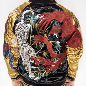 Mens-Souvenir-Jacket-Sukajan-Japanese-Pattern-Embroidery-REVERSIBLE-4-St-Beasts
