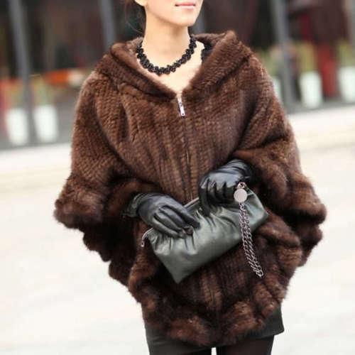 NEW Unique Farm Real Knitted Mink Fur Shawl//Wraps//Cape Hoody Poncho Coffee//Black