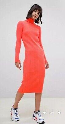 ASOS Ribbed Neon Roll Neck Midi Long Sleeve Sweater Dress Size 12 NEW   eBay