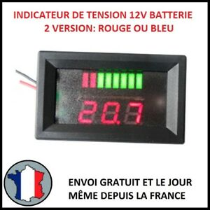 indicateur de tension 12v batterie charge pourcent rouge. Black Bedroom Furniture Sets. Home Design Ideas