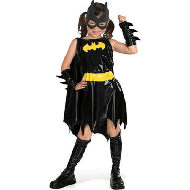 Girls 5 Pc Batman Batgirl Book Day Halloween Fancy Dress Costume Outfit 3-10 yrs
