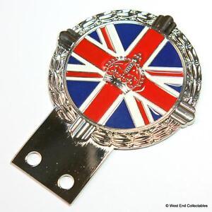 Vehicle Parts & Accessories Badges & Mascots Auto Mascot British Union Jack Flag Enamel Kings Crown Classic Car Badge