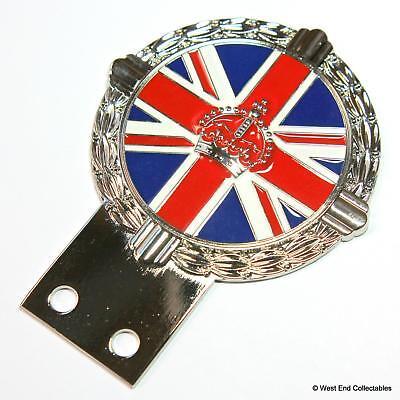 Auto Mascot British Union Jack Flag Enamel Kings Crown Classic Car Badge Automobilia Vehicle Parts & Accessories