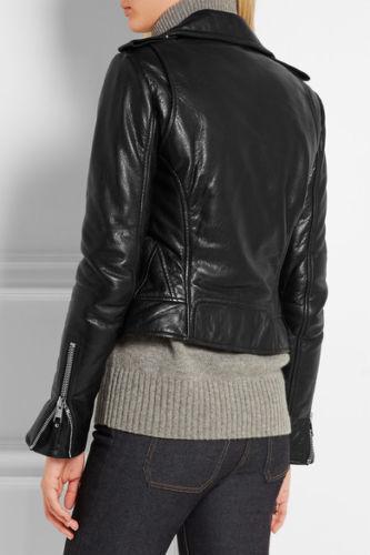 coupe de en la Veste pour style femme à noire biker cuir véritable d'agneau Rw1qn1H8