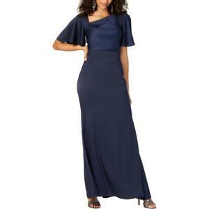Vince Camuto Womens Navy Satin Bell Sleeve Evening Dress Gown 12 BHFO 0521
