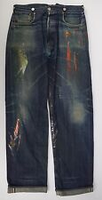 LVC LEVI'S VINTAGE CLOTHING Paint Splatter Buckleback Selvedge Denim Jeans 32x33