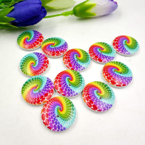 GN 50Pcs Rainbow Bread Wooden Buttons 2 Holes Sewing Craft Scrapbooking DIY Eye