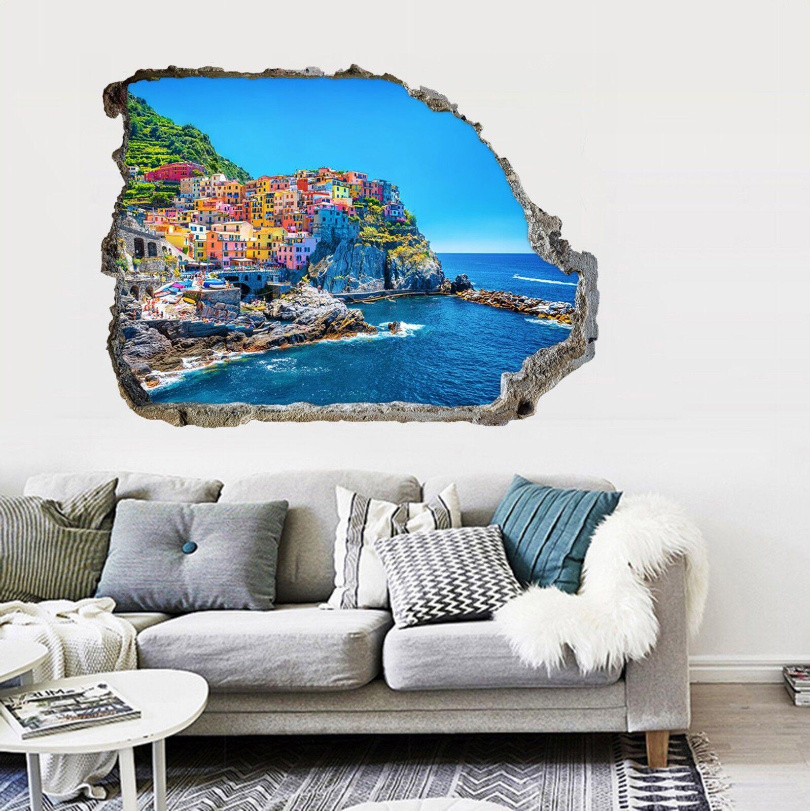 3D Stadt am Meer 26 Mauer Murals Mauer Aufklebe Decal Durchbruch AJ WALLPAPER DE