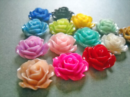 RESIN FLOWER CABOCHONS ASSORTED COLORS 18mm Rose Cabochons Flower Flat Back 50pc