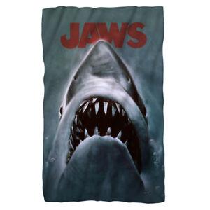 Jaws Movie Poster Great White SHARK Lightweight Polar Fleece Throw Blanket