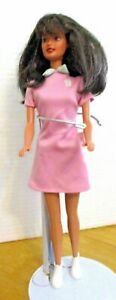 ORIGINAL-BARBIE-DOLL-BLACK-HAIR-PINK-OVERALL-AND-WHITE-SHOES
