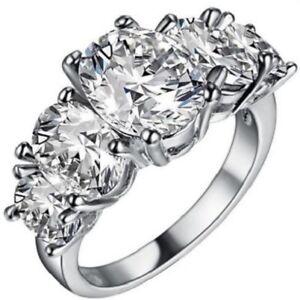 Elegant Platinum White Gold Plated White Topaz Women New Fashion Ring Size: 9.5