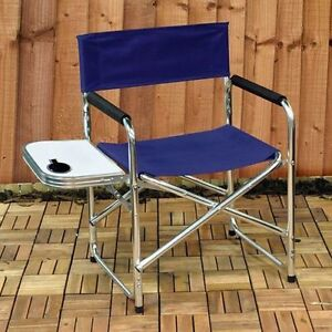 NEW Aluminium Canvas Directors Garden Camping Chair With Side Table Fre
