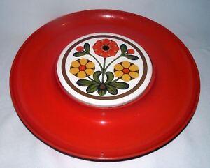 Cheese-Tray-Melamine-Orange-Tile-Retro-Vintage-Round-Floral-Crackers-Mid-Century
