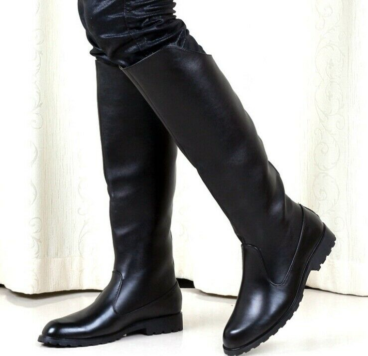 military men's leather solid flat black knight knee high boots flat solid casual shoes 2018 aeb0b3