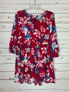 Umgee-Boutique-Women-039-s-S-Small-Red-Floral-3-4-Sleeves-Spring-Tunic-Top-Blouse