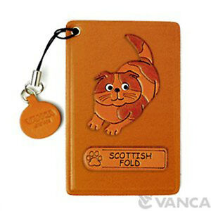 Scottish Fold Handmade Cat 3D Leather Commuter ID Pass Card Holder *VANCA* 26436