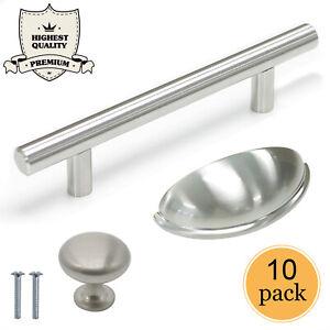 10X Cabinet Handles Kitchen Satin Nickel Stainless Steel ...