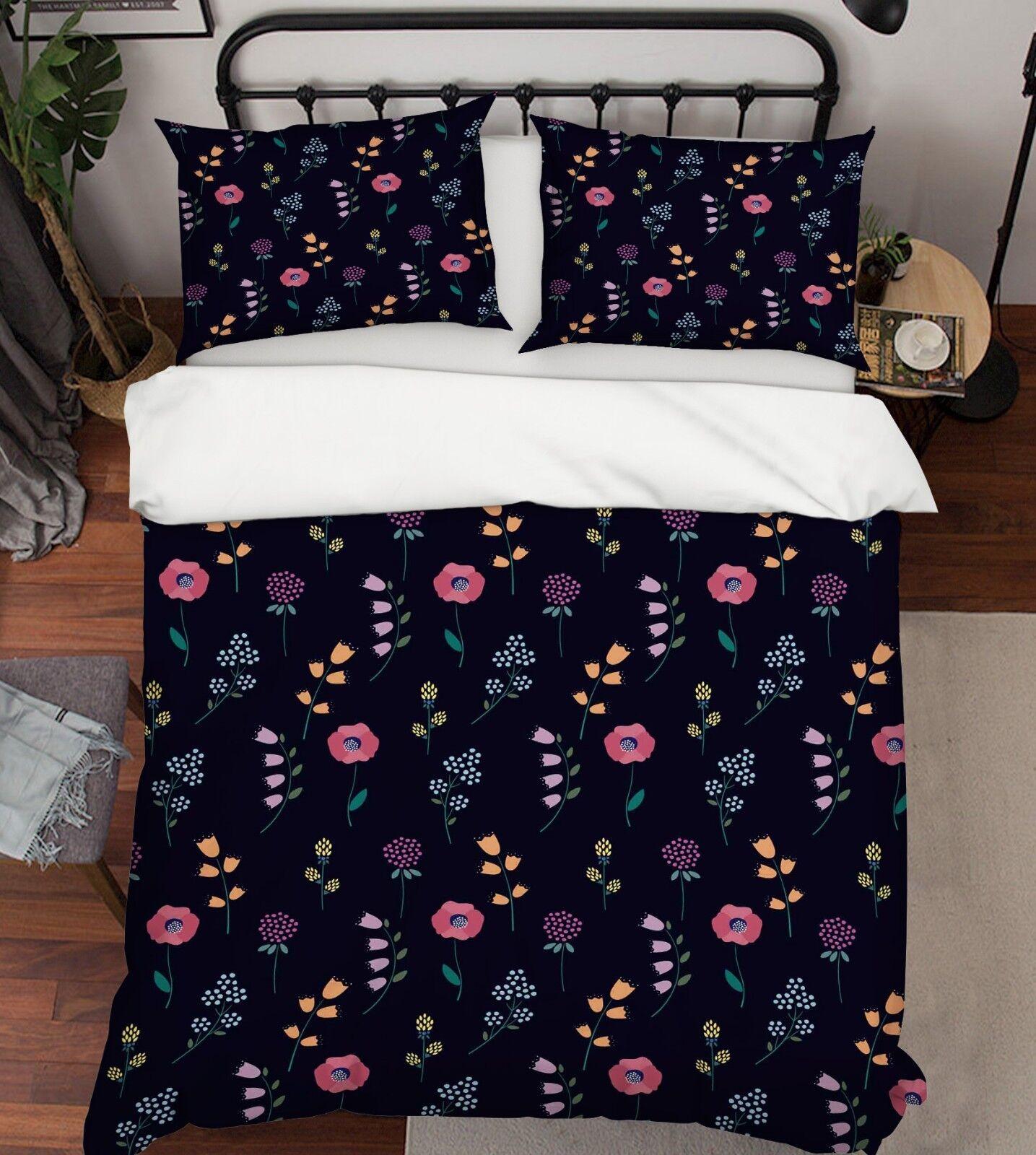 3D Blaumenmuster 13 Bett Kissenbezüge steppen Duvet Decken Set Single Königin DE