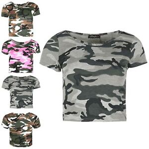 4b04e57f03db8 Image is loading Ladies-Army-Military-Baggy-Cropped-Top-Womens-Stretchy-