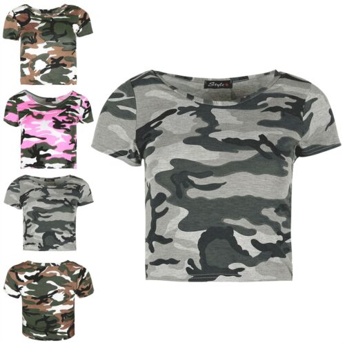 Ladies Army Military Baggy Cropped Top Womens Stretchy Short Cap Sleeve Crop Top