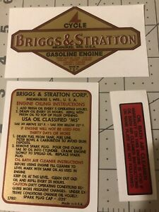 Briggs & Stratton Number Series 9, 14, 19, 23 decal set With B&S Oil Bath of 3