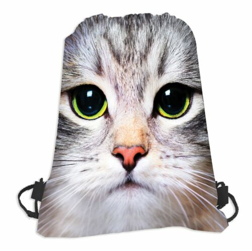 2x Cat Face Print Drawstring Bag Backpack Rucksack Gym School Outdoor Polyester