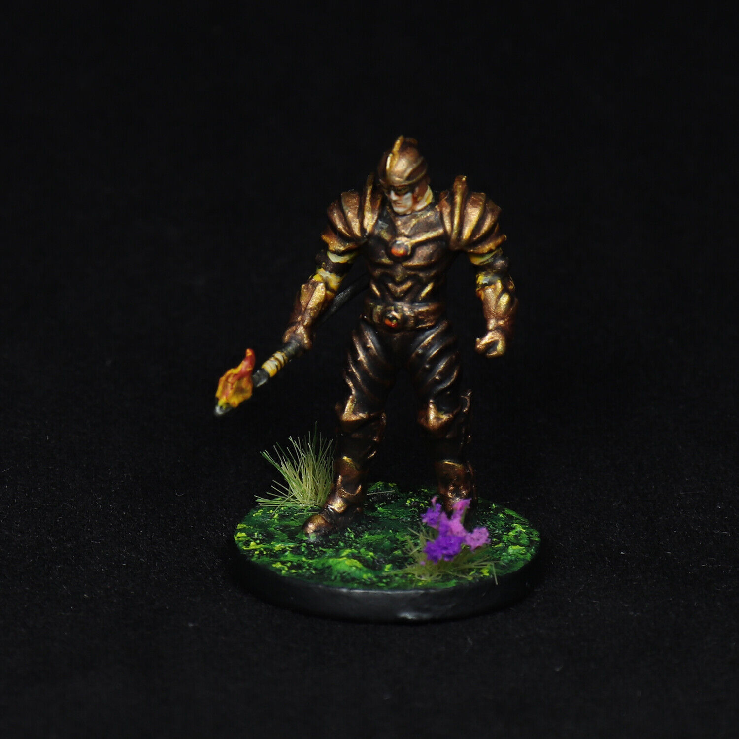 Painted DnD Miniature Fire Cultist Guard Watch Lancer Spearman Fighter Warrior