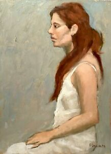SIGNED FIGURE STUDY PORTRAIT IMPRESSIONIST DOUBLE SIDED PAINTING WOOD PANEL