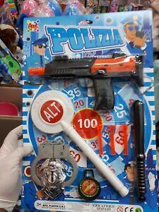 Dettagli su Set poliziotto manette pistola paletta kit gioco di qualità giocattolo toy