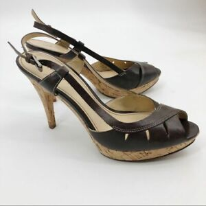 Marc Fisher Valma Heels Leather Cork Peep Toe Sling Back Brown Women's Size 7M