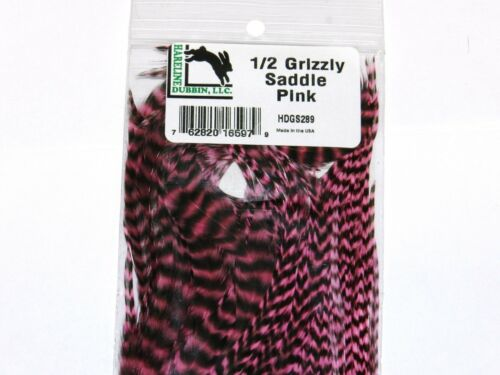 HARELINE DUBBIN GRIZZLY 1//2 SADDLE FLY TYING HACKLE FEATHERS HAIR EXTENSION